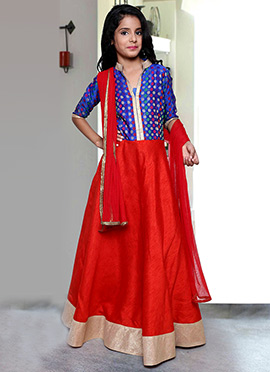 Red N Blue Kids Anarkali Suit