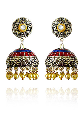 Red N Blue Meenakari Jhumka Earring