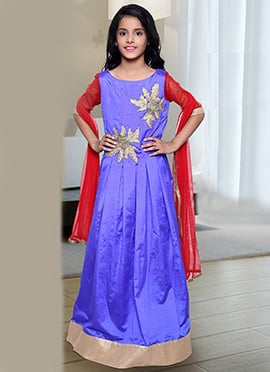 Red N Blue Shade Kids Anarkali Suit