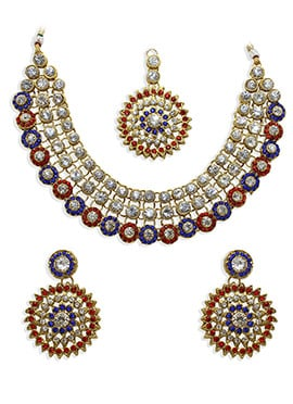 Red N Blue Stone Studded Necklace Set