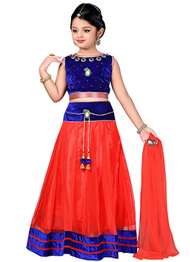 Red N Blue Teens Lehenga Choli