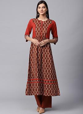 Red N Brown Cotton Long Kurti