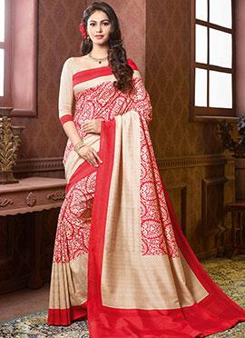 Red N Cream Art Silk Saree