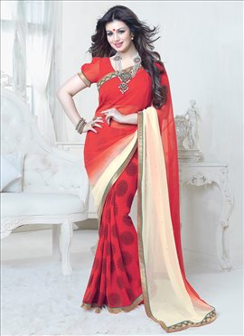 Red N Cream Ayesha Takia Half N Half Saree