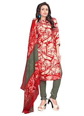 Red N Cream Crepe Churidar Suit