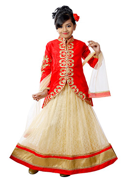 Red N Cream Kids Long Choli A Line Lehenga
