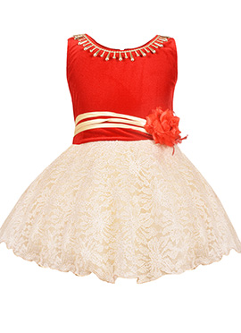 Red N Cream Net Kids Gown