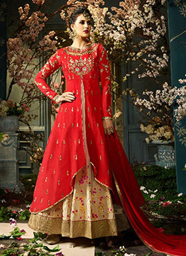 Red N Cream Taffeta Silk Anarkali Lehenga