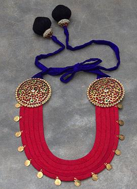 Red N Dark Blue Polki N Pearls Studded Necklace