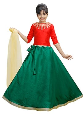 Red N Dark Green Art Silk Kids A Line Lehenga