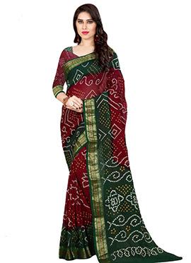 Red N Dark Green Bandhini Printed Saree