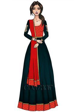 Red N Deep Gibraltar Sea Embroidered Anarkali Suit
