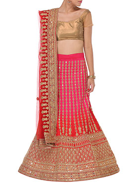Red N Deep Pink Embellished A Line Lehenga Choli