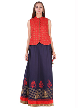 Red N Deep Violet Cotton 9rasa A Line Lehenga Choli