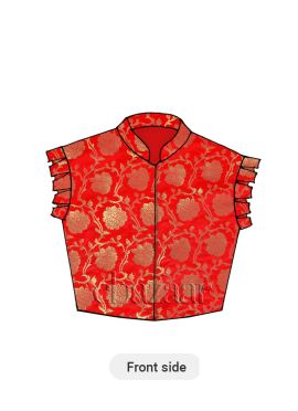 Red N Gold Brocade Box Pleated Sleeve Styled Blouse
