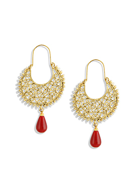 Red N Gold Colored Chand Bali Earrings