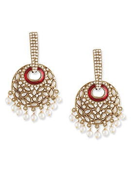 Red N Gold Colored Danglers