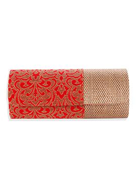 Red N Gold Colored Silk Clutch