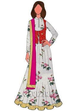 Red N Gold Embroidered Velvet Anarkali Suit