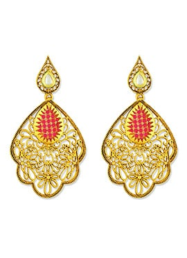 Red N Gold One Stop Fashion Dangler Earrings