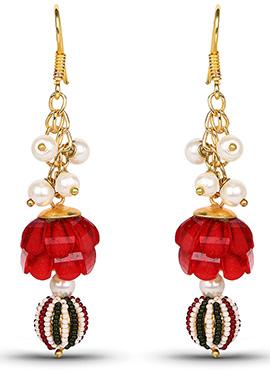 Red N Golden Hook Earring