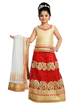 Red N Golden Net Teens Lehenga Choli