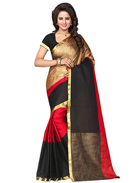 Red N Golden Polyester Saree
