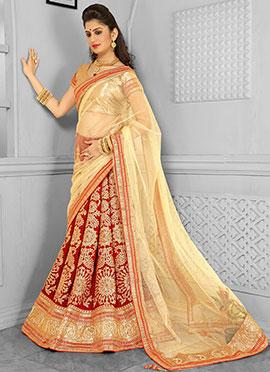 Red N Golden Velvet A Line Lehenga Choli