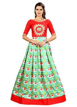 Red N Green Art Silk Gown