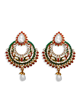Red N Green Beads Chandbali Earrings