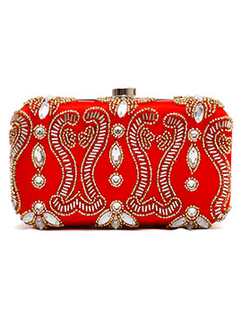 Red N Green Beads Embellished Stylish Box Clutch