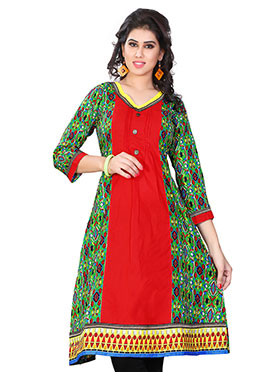 Red N Green Blended Cotton Kurti