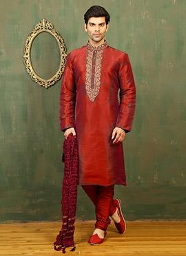 Red N Green Dual Tone Art Silk Kurta Pyjama