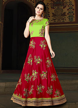 Red N Green Embroidered Abaya Style Anarkali Suit