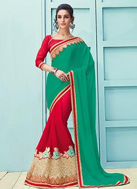 Red N Green Half N Half Saree
