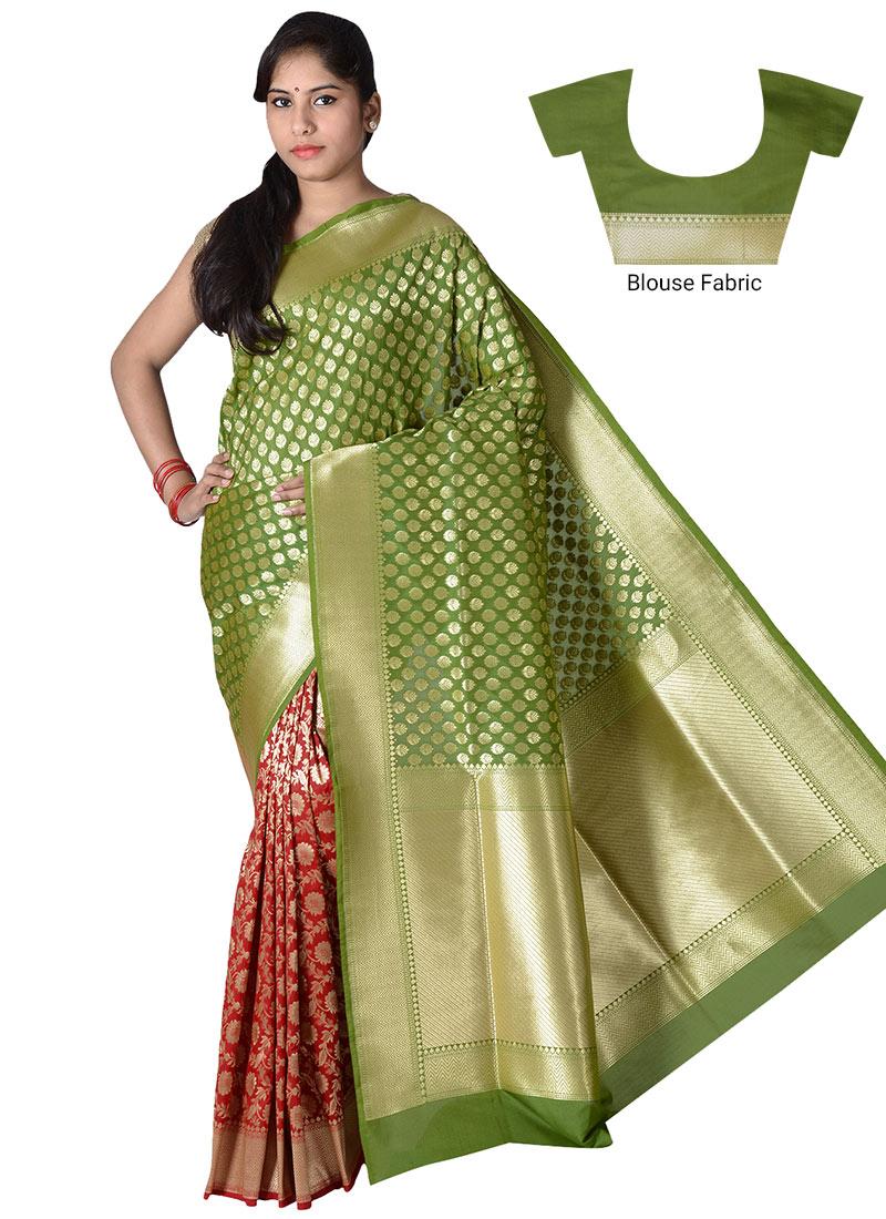 Buy Red N Green Half N Half Saree Benarasi Zari Half N