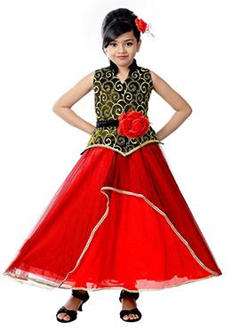 Red N Green Lycra N Net Kids Gown