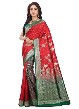 Red N Grey Benarasi Pure Silk Saree