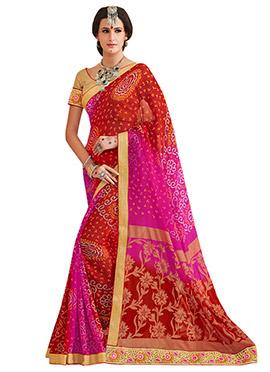 Red N Magenta Ombre Bandhini Pattern Saree