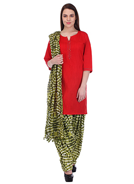Red N Mehendi Green Pure Cotton Patiala Suit