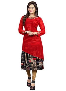 Red N Multicolored Georgette Embroidered Long Kurti