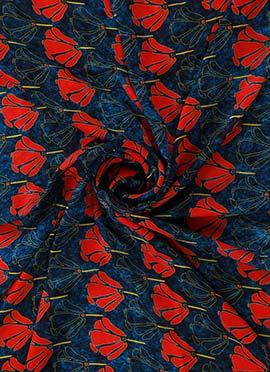 Red N Navy Blue Digital Printed Chinon Chiffon Fabric