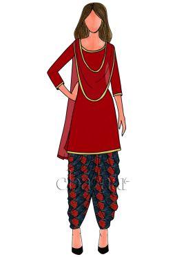 Red N Navy Blue Digital Printed Chinon Chiffon Patiala Suit