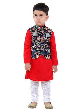 red N Navy Blue Kids Bandi Set