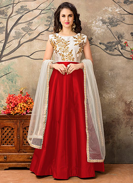 Red N Off White Abaya Style Anarkali Suit