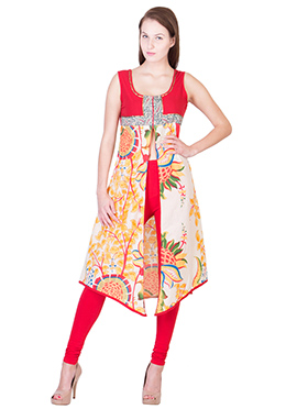 Red N Off White Blended Cotton Center Slit Kurti