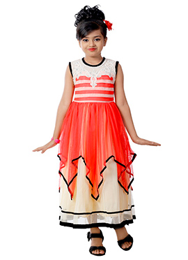 Red N Off White Net Layered Kids Gown