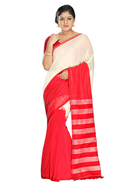 Red N Off White Pure Cotton Handloom Saree