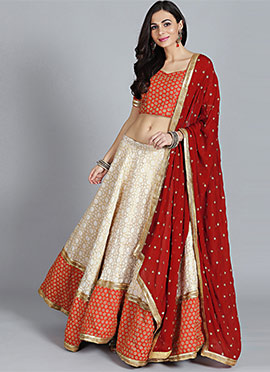 Red N Off White Umbrella Lehenga Set