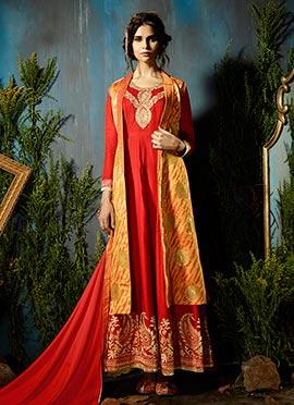 Red N Orange Art Silk Abaya Style Anarkali Suit